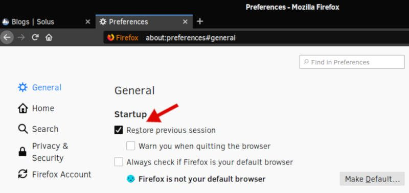 How to enable Restore previous session in Firefox