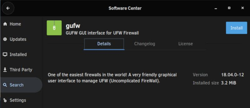 GUFW in the Software Center of Solus
