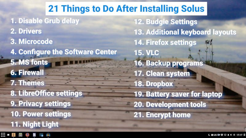 list of 21 things to do after installing Solus