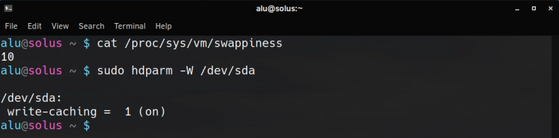 checking swappiness and drive cache settings in Solus 4