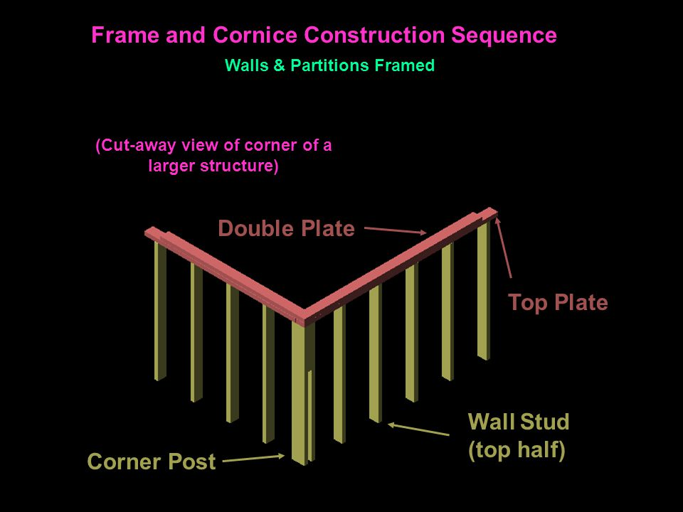 Top Plate Double Plate Wall Stud (top half) Corner Post Frame and Cornice Construction Sequence Walls & Partitions Framed (Cut-away view of corner of a larger structure)