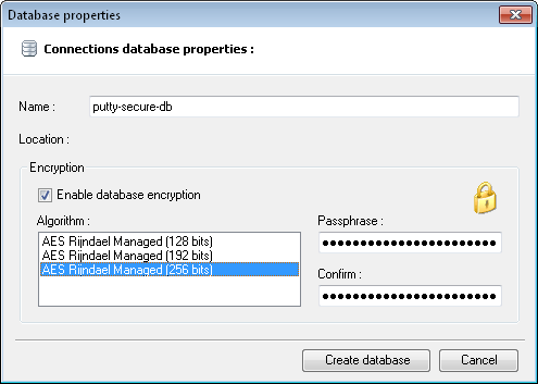 Create Encrypted PuTTY Databasen