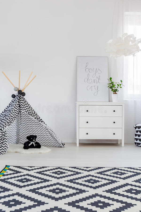 Child bedroom with dresser stock images