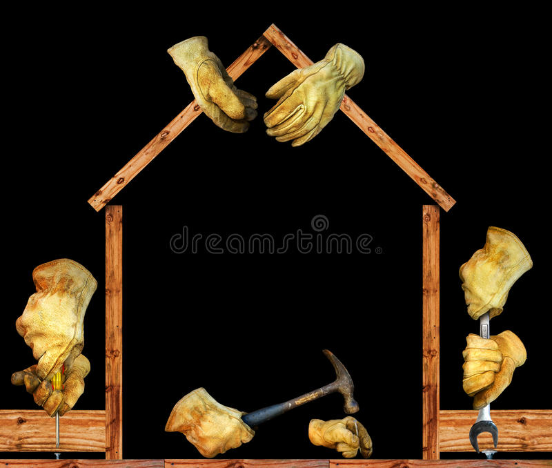 Construction hands royalty free stock images