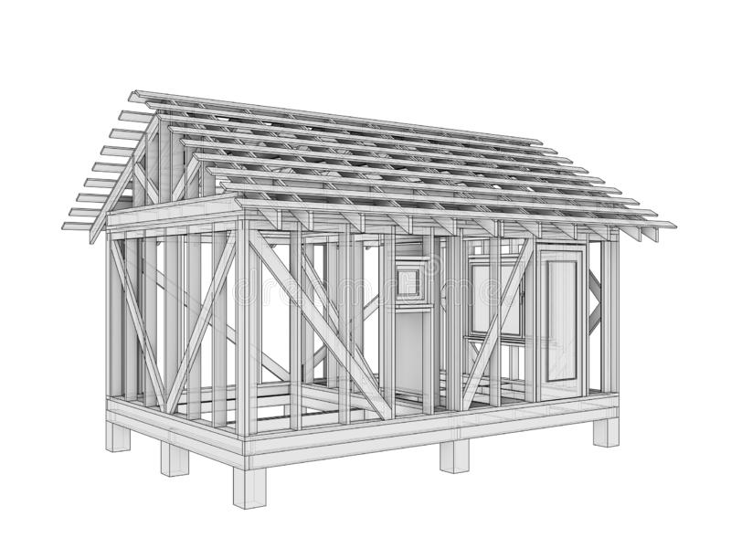 3D illustration of a small frame house royalty free illustration