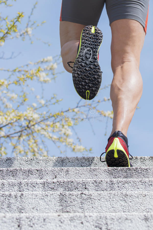 Runner stairs spring time stock images